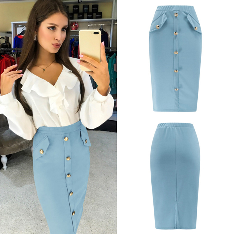 Plus Size 2020 Fashion Women Work Midi Skirt OL Sexy Open Slit Button Slim Pencil Skirt Elegant Office Ladies Skirts