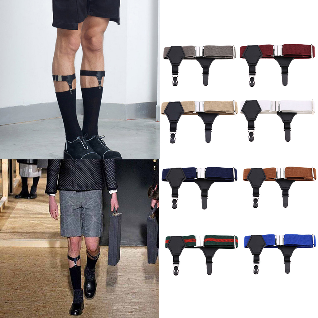 1 Pair Adjustable Elastic Sock Garters Metal Clips Men Women Sock Suspenders Holders Belt Strap Fashion New