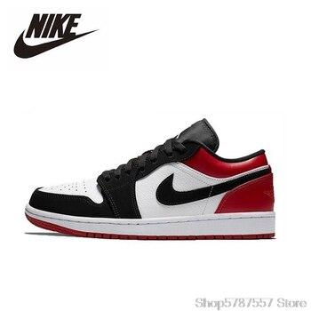 Nike Air Jordan 1 Low Black Toe Original Men Shoes Comfortable Lightweight Women Basketball Shoes Sports Sneakers 553558-116