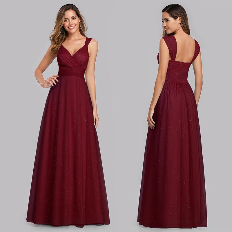 Elegant Bridesmaid Dress A-line Pleated Sleeveless Backless V-neck Floor-length Dress Backless Dress for Party
