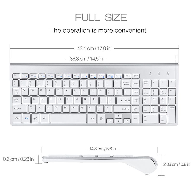 SeenDa 2 4G Wireless Silent Keyboard and Mouse Mini Multimedia Full size Keyboard Mouse Combo Set