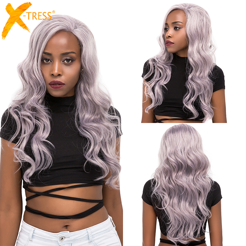 Silver Platinum Color Lace Front Synthetic Hair Wigs With Baby Hair X-TRESS Long Natural Wave Free/Side Part Lace Wig For Women