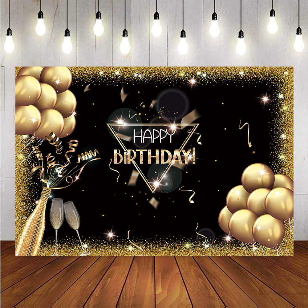 Happy birthday theme party gold glitter balloons Champagne backdrop for photography black graduation background for photo studio