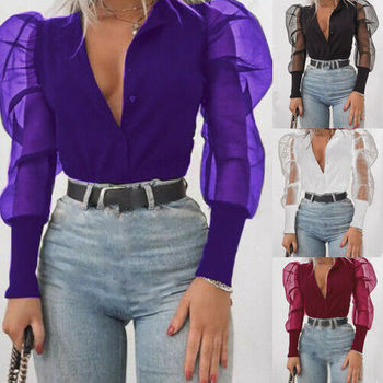 arrival New 2019 Women's V-Neck Shirt Tulle Ruffle Long Puff Sleeve Shirt Solid Lady Shirts All-Matching Autumn Women Tops 3