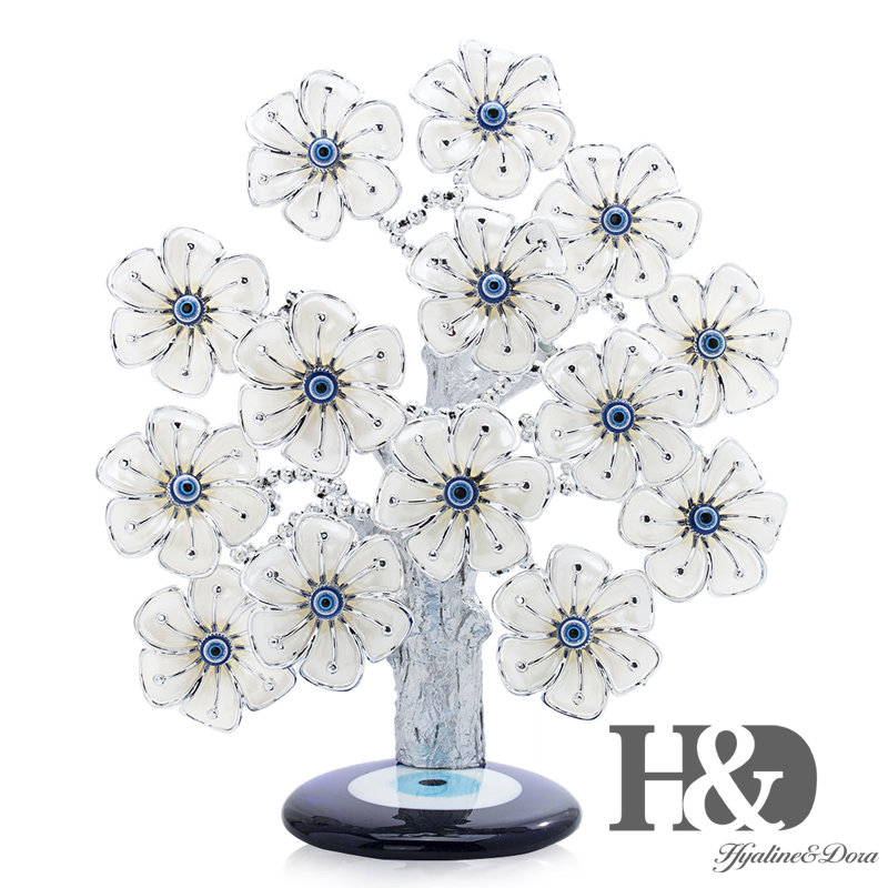 H&D Turkish Feng Shui Lucky Evil Eye Flower Tree For Protection Wealth And Achievement Good Luck Christmas Gift Home Decor ResinFigurines & Miniatures   -