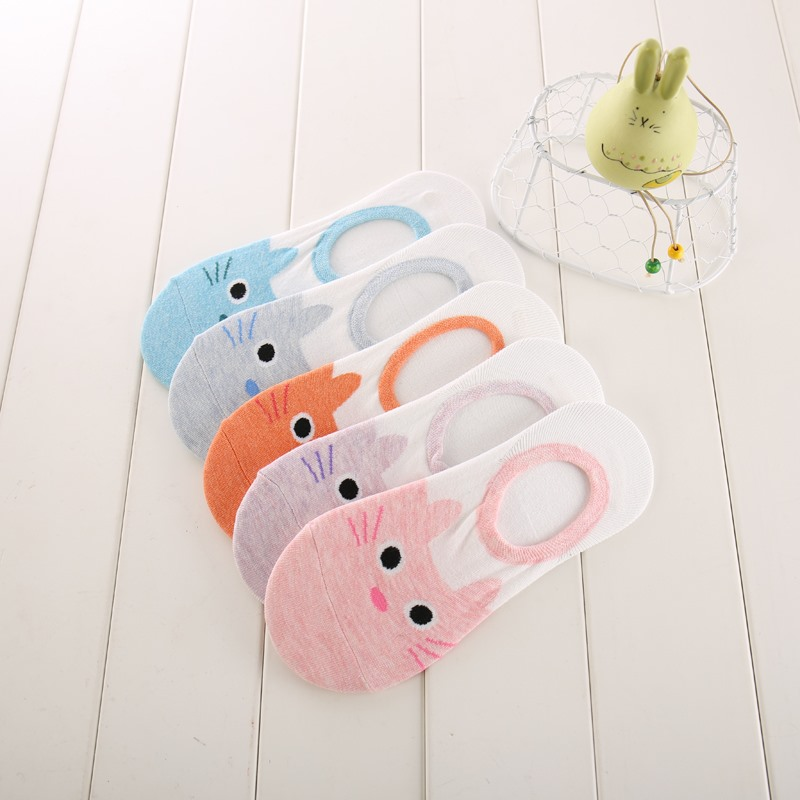 New Free Shipping Women Candy Color Socks Small Animal Cartoon Short 100% Cotton Boat Socks 2 Pair Breathable Casual Funny Sock