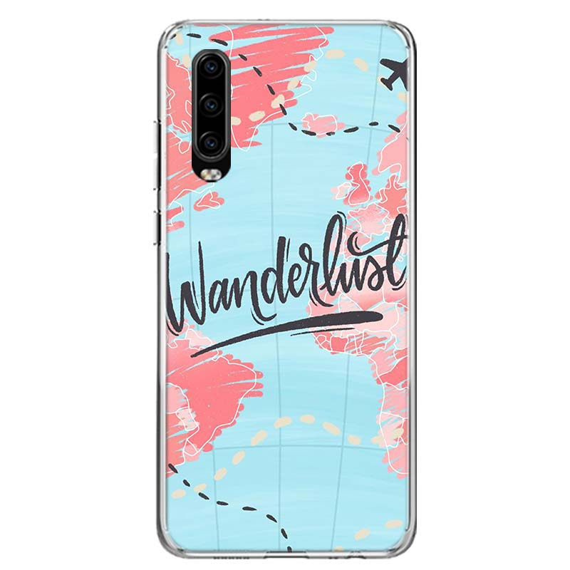 World Map Travel Plans Cover Phone Case For Huawei P40 P30 P20 Mate 30 20 10 Pro P10 Lite P Smart Z + 2019 Coque Shell Capa