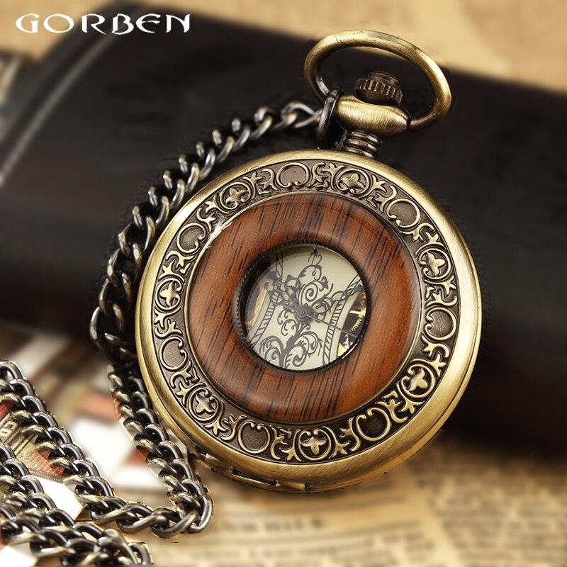 Caja Paquete de madera maciza reloj de bolsillo mecánico FOB relicario con Cadena Dial hueco Steampunk esqueleto hombres mujeres hombres reloj relojes