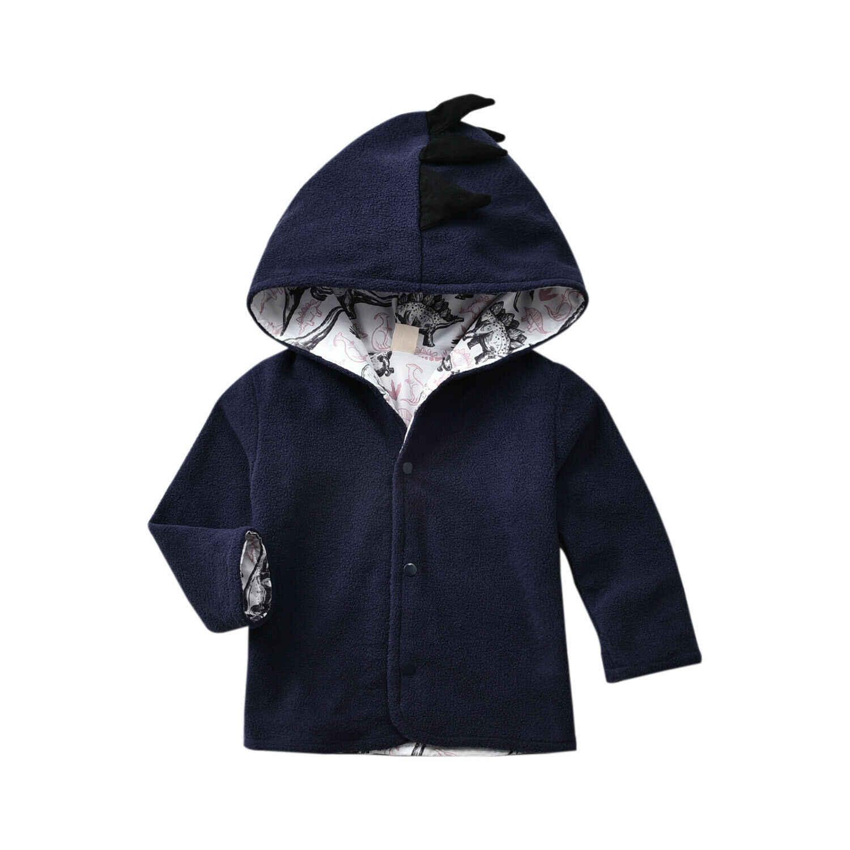 Capretti Del Bambino Dei Ragazzi di Dinosauro Felpa Con Cappuccio del Cappotto Magliette e camicette Cerniera casual Giacca Con Cappuccio Vestiti di Grigio Blu Khaki 0-5Years