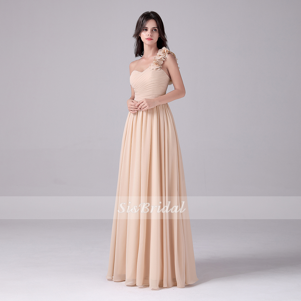A-Line Sweetheart One Shoulder Floor Length Organza Bridesmaid Dresses With Side-Draped For Wedding Party