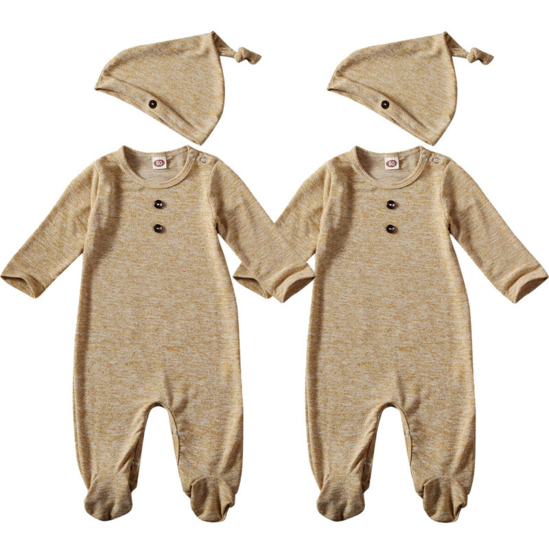Newborn Infant Baby Boy Girl Footies Long Sleeve Button Jumpsuit With Hat Casual Kids Cotton Outfit Set