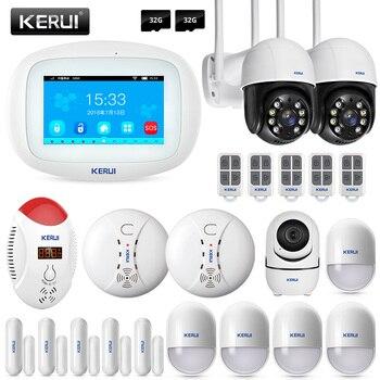 KERUI K52 Smart Home WIFI GSM Alarm System Door Sensor APP Control Smoke Detector Security Wireless  Surveillance IP Camera 1