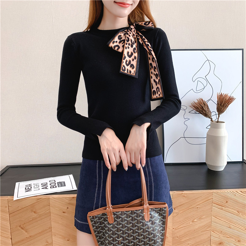 Women Knit Sweater Pullover Autumn Winter Clothes New Leopard Bow Tie Slim Pull Knitwear Sweater Jumper Long Sleeve Female Tops 6