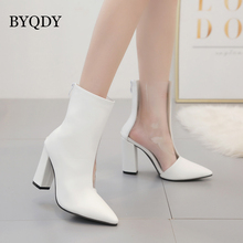 BYQDY Fashion Transparent PVC Boots Stitching Thick Heels Shoes Pointed Toe Autumn Winter Square Zipper Rain