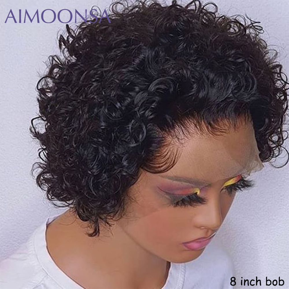 Short Pixie Cut Wig Short Bob 150% 13*4  Lace Front Human Hair Wig For Black Women Pre Plucked With Baby Hair Natural Remy 1