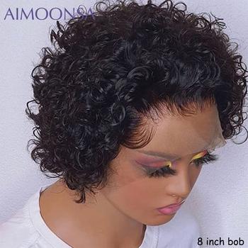 Krótki fryzura Pixie peruka krótki Bob 150 13*4 koronki przodu włosów ludzkich peruk dla czarnych kobiet wstępnie oskubane z dzieckiem włosy naturalne Remy tanie i dobre opinie AIMOONSA long Bouncy kręcone Koronki przodu peruk Remy włosy Ludzki włos Pół maszyny wykonane i pół ręcznie wiązanej