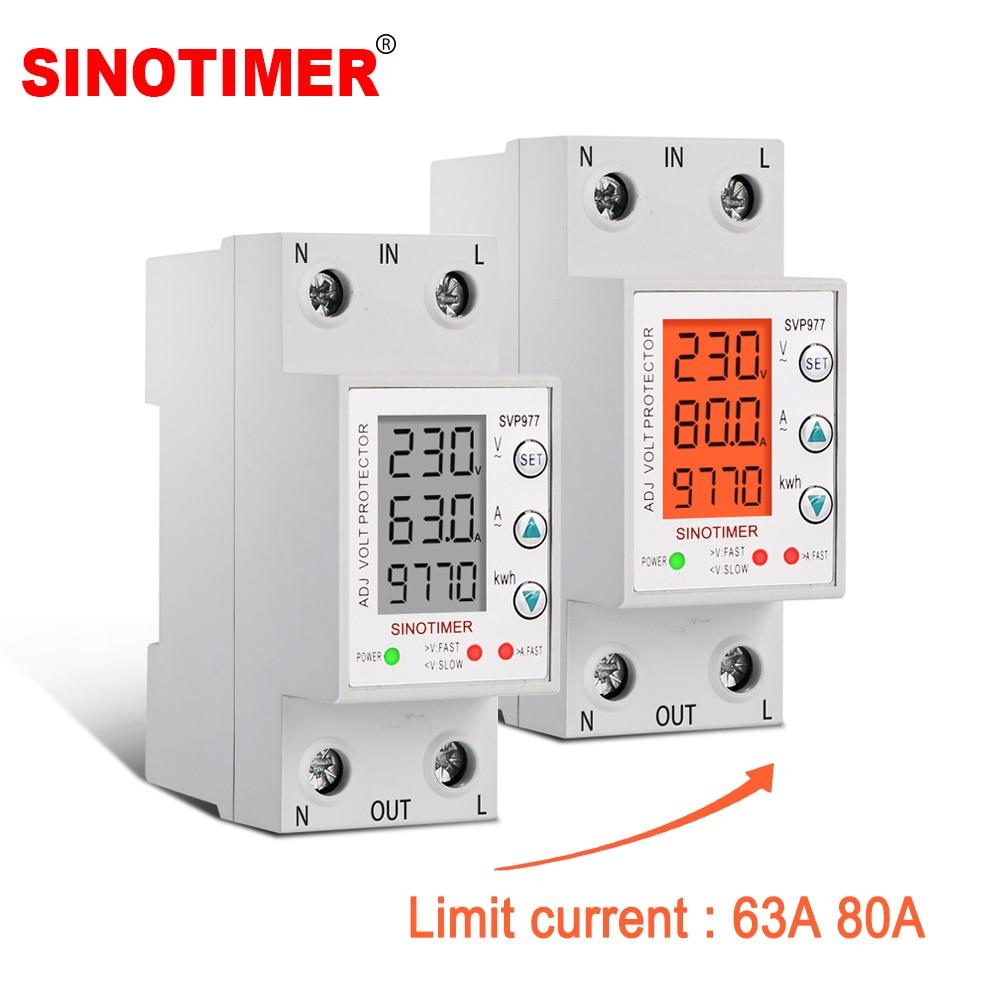GEYA Voltage Protector 63A 80A 220V 110V Over Under Voltage Protection for Home