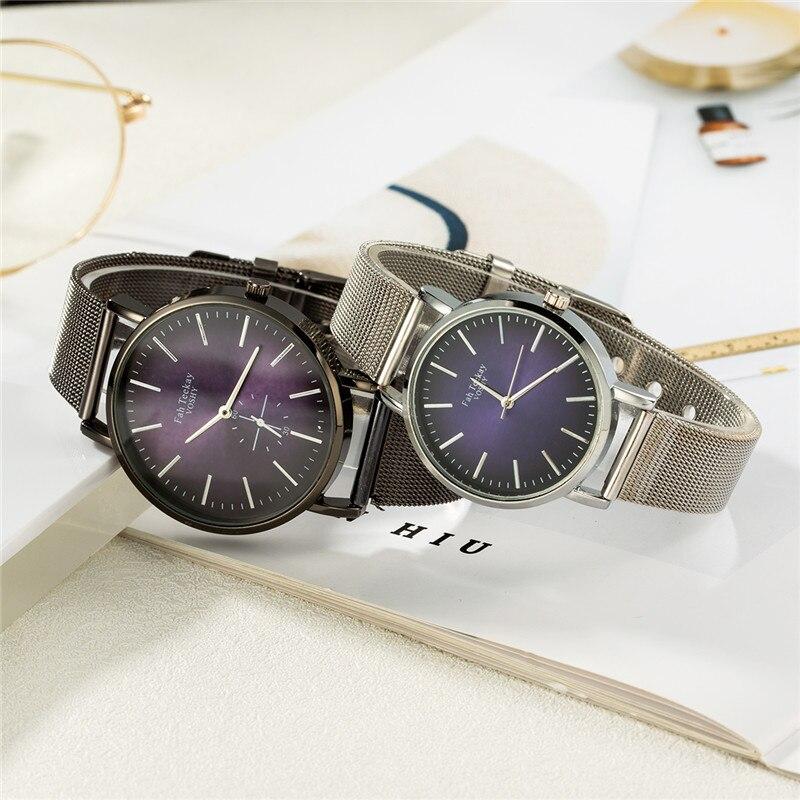WJ-8739 Couple Watch Men Watch Women Stainless Steel Fashion Watches Clock Reloj Hombre Reloj Mujer Montre Lover's Wristwatch
