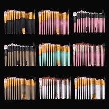 Nicoo 20/5 pçs eyeliner eyelash lábio maquiagem escovas conjunto pó compõem escova kit de ferramentas de beleza cosméticos sombra de olho quente fundação