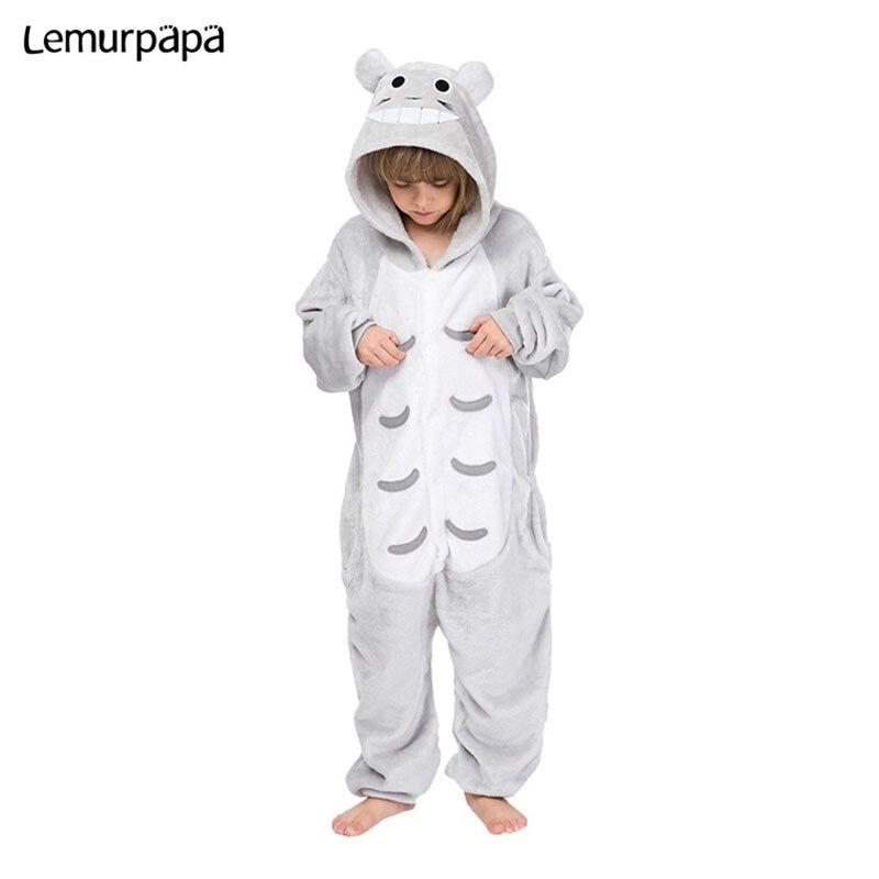 Kids Kigurumis Onesies Cartoon Cute Totoro Children Pajama suit Girl Boy Party Winter Homewear Jumpsuit Cosplay Sleepwear Child