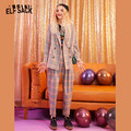 ELFSACK Plaid Single Button British Women Blazers 2019 Autumn Long Sleeve Casual Two Piece Set Office Ladies Daily Matching Sets