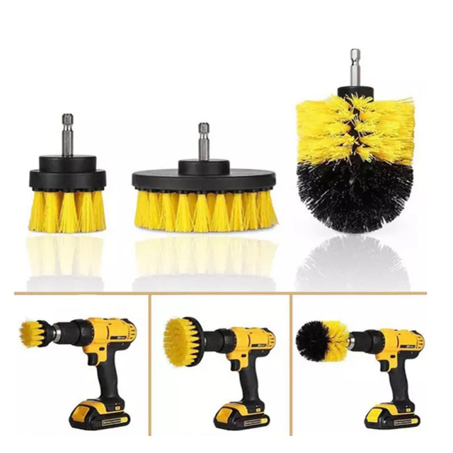 Power Scrubber Brush Set For Bathroom Drill Scrubber Brush For Cleaning Cordless Drill Attachment Kit Power Scrub Yellow