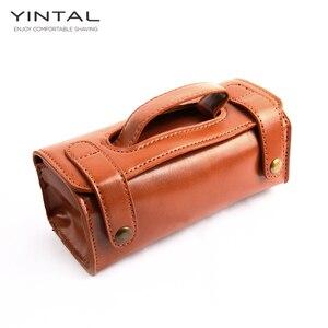 Image 1 - YINTAL manuel tıraş bıçağı taşınabilir tıraş fırça seyahat deri çanta çift kenarlı güvenlik jilet kutusu (sadece 1 kutu)
