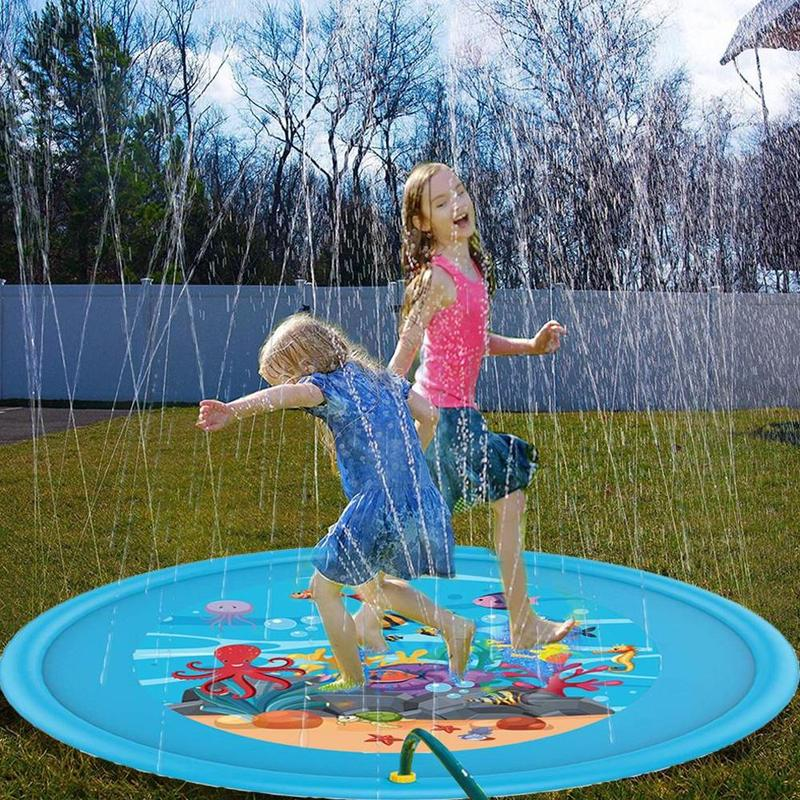 PVC Inflatable Water Spray Pad Blanket Sprinkler Grass Beach Game Pad  Blue Sea Fish Pattern Cushion Summer Toys For Kids