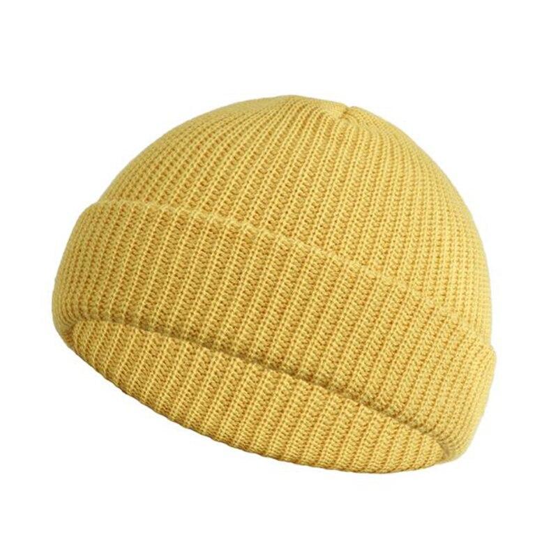 Модные однотонные вязаные шапки бини зимние теплые лыжные для