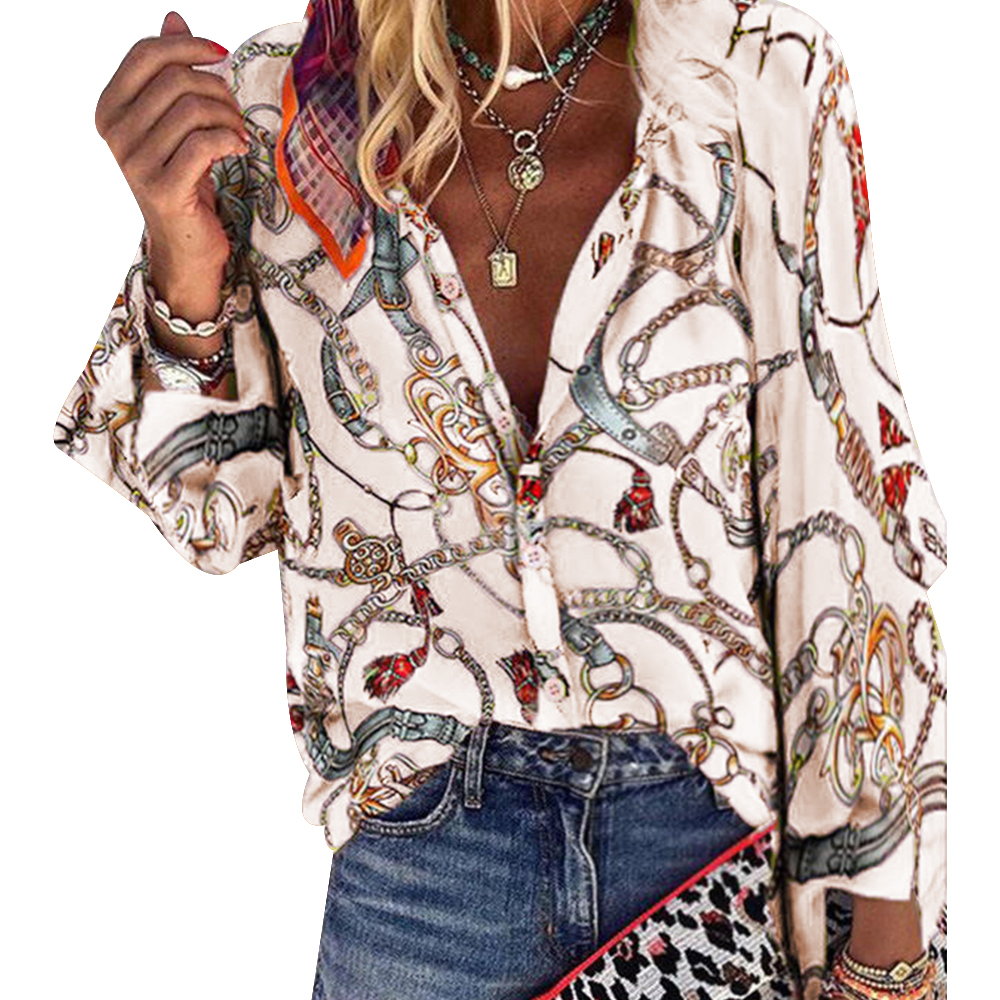 Boho Blouses Women Casual Chain Print Shirt V Neck Sexy  Autumn Fshion Femme Blouses Plus Size Button Long Sleeve Loose D30