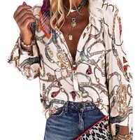 Boho Blouses femmes décontracté chaîne impression chemise col en V Sexy automne mode Femme Blouses grande taille bouton à manches longues en vrac D30