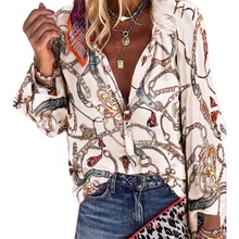 Boho Blouses Women Casual Chain Print Shirt V Neck Sexy Autu