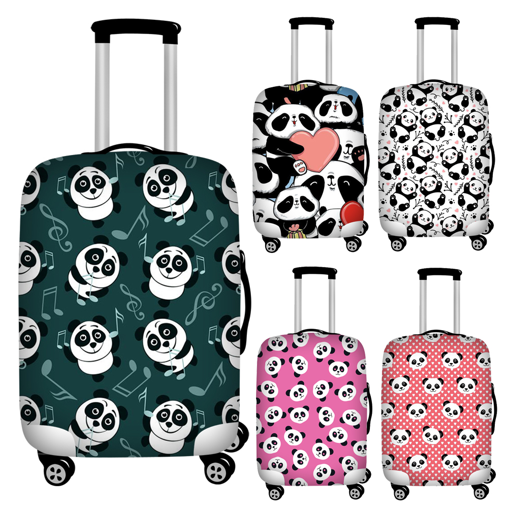 Twoheartsgirl Cute Animal Panda Print Travel Luggage Covers Waterproof 18-32inch Suitcase Cover Anti-dust Baggage Covers Zipper
