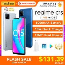 Realme C15 4GB 64GB Globale Version 6000mAh Batterie Helio G35 13MP Quad Kamera NFC Play Store