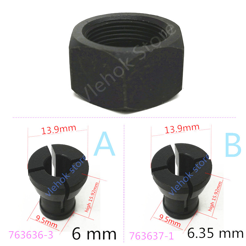 Collet Cone Nut For MAKITA 763637-1 6.35mm 763615-1 763636-3 RT0700C RT0700CX2 RT0700CX3 RP0900 RT0701 3621 3621A 3620 MT361