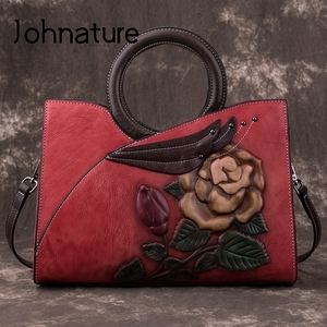 Image 1 - Johnature Retro Handmade Genuine Leather Women Handbag 2020 New Casual Tote Large Capacity High Quality Shoulder&crossbody Bags