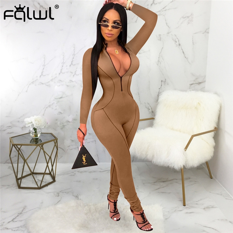 FQLWL Ladies Sexy Bodycon Jumpsuit For Women Overalls 2019 Zipper V Neck Long Sleeve Skinny Club   Rompers   Womens Jumpsuit Female