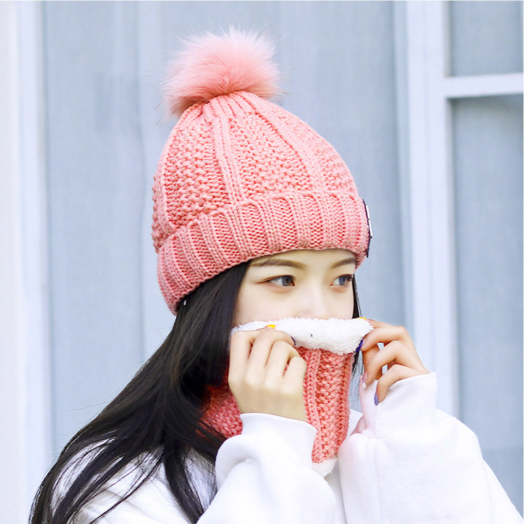 2pcs/set Women Winter Knitted Beanie Hat Crochet Beanie Cap Autumn Warm Cap Scarf Set
