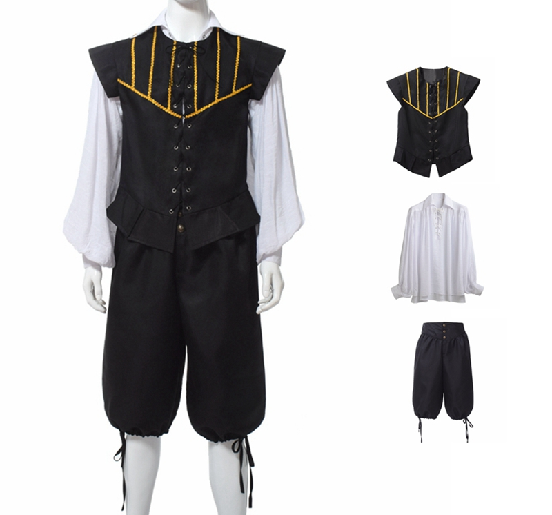 Renaissance Costumes Mens Historical Vintage Medieval Cosplay Outfit