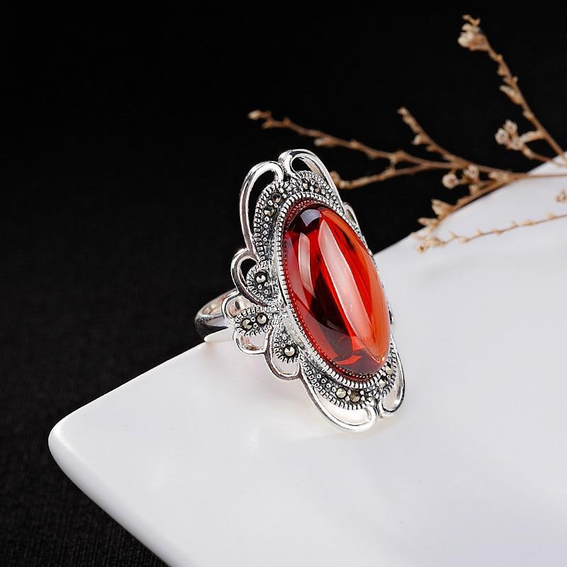 Argent 925 bague 925 bijoux en argent sterling Citrine émeraude calcédoine grenat rouge corindon saphir réglable ouverture gemme blanc