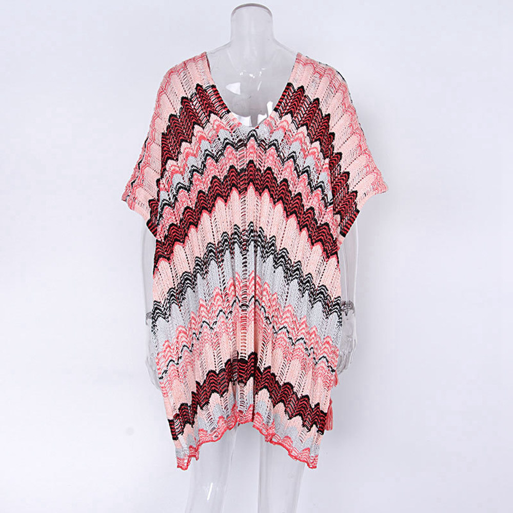 Sexy Beach Tunic Deep V Mesh Mini Dresses Knitted Cover Up 24