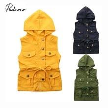 Одежда для малышей; сезон весна-осень жилет на молнии для маленьких мальчиков и девочек жилет с капюшоном однотонная верхняя одежда; Куртка Топы; От 1 до 6 лет