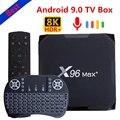 Приставка Смарт-ТВ X96 max plus, 2020 дюйма, 4 + 64/32 ГБ, 8K, Wi-Fi, 4K, Android 9,0