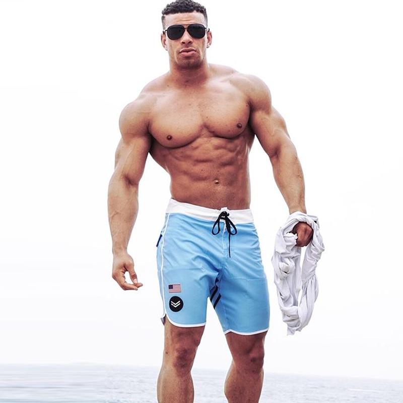2019 Gyms Brand Beach Swimming   Shorts   Waterproof Mens Swim Trunks Summer Running Pants Tether Waist