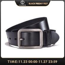 Cinturón de lujo para hombre, cinturón de cuero genuino con hebilla para hombre, correa para jean de alta calidad, ancho color marrón, moda JTC012