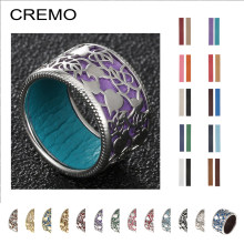 Cremo Labyrinth Rings For Women Argent Cuff Ring Argent Reversible Leather Elegant Bijoux Femme Finger Band Ring Hollow Jewelry(China)