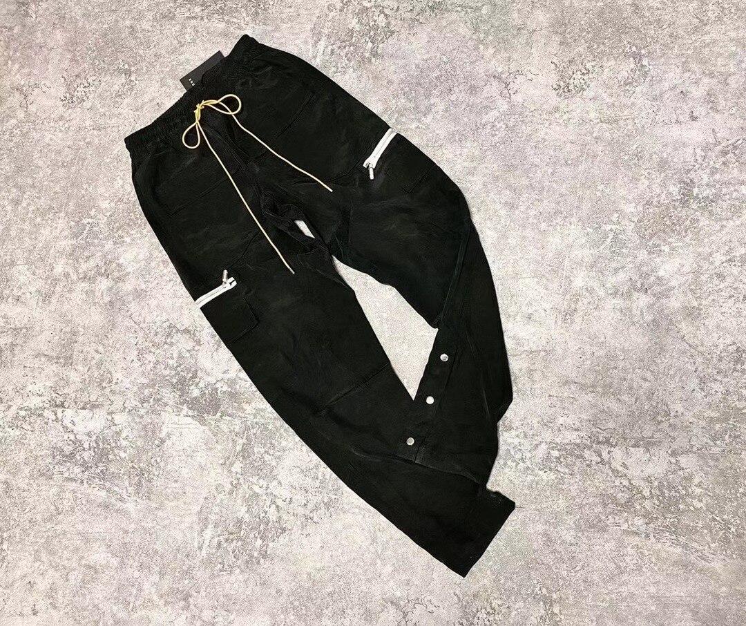 RHUDE Sweatpants Women Men High Street Vintage Multi-pocket Zippered Zip-up Trousers Trend High Street Fashion Pants