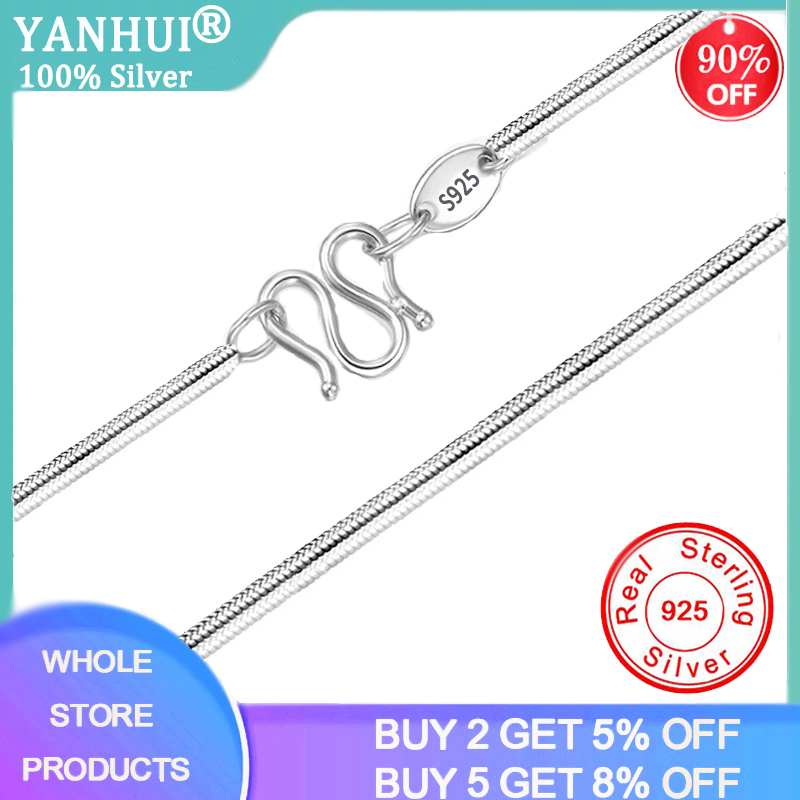 With Certificate Silver 925 Necklace Women 100% Original 925 Sterling Silver Jewelry Women Accessories Snake Bone Chain Necklace