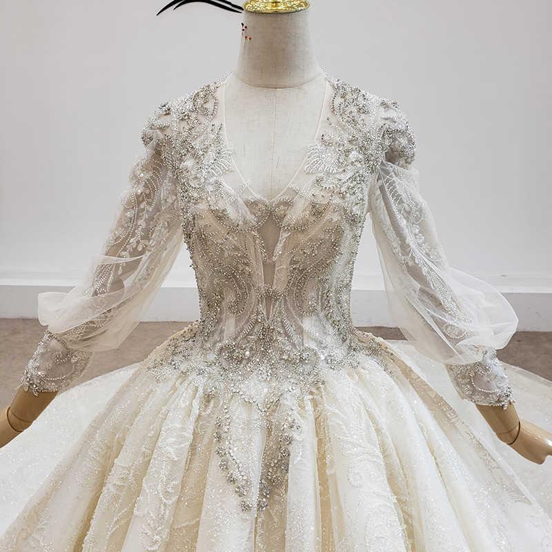 HTL1545 فساتين السه Hochzeit Kleid V-ausschnitt Spitze Up Laterne Hülse Appliques Pailletten Kathedrale Ablauf Ballkleid вечернее платье
