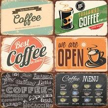Кофе меню Винтаж плакат ретро металлическое олово металлического